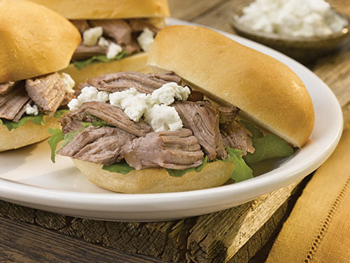 braised american lamb and goat cheese sliders