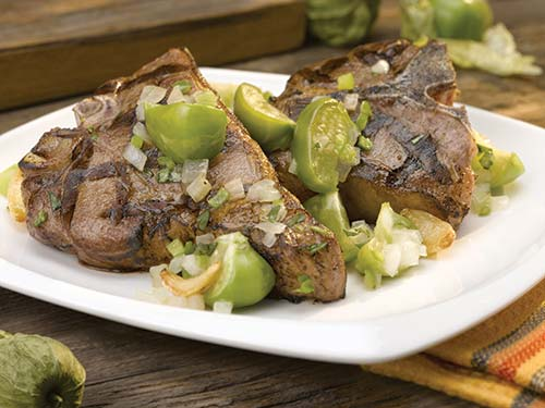 grilled american lamb loin chop with tomatillo