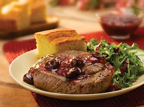 shoulder chop with cherry chipotle sauce