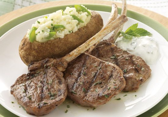 grilled american lamb lollipops with twice baked potatoes